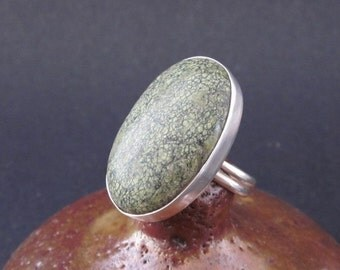 Large Russian Serpentine Sterling Silver Ring
