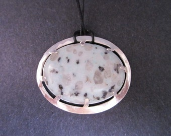 Large Sesame Jasper and Sterling Silver  Pendant
