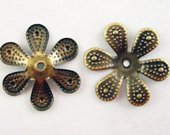 50 pcs Antique Brass 6 Petal Flower Bead Caps. Antique Bronze Filigree Flower Cap - 18mm