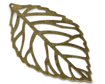 3 pair (6pcs) Flexible Large Filigree Leaves Pendant. Brass Leaf Connector. N