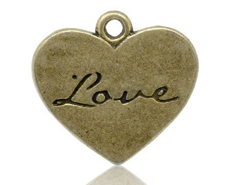 2 pcs Nickel Free Antique Bronze Heart Love Charms. Vintage Heart Pendant - 21x20mm.