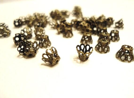 30 pcs Antique Bronze Basket Bead Caps Tiny 5x6mm