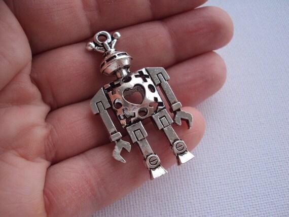1pc Lead Nickel Free Zinc Alloy 3D Charm. Antique Silver Robot Pendant - 46x25mm. Key Charm