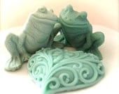 FROG and HEART SOAPS, Frog Soap Set, Valentine's Day, Two Frogs in Love, Custom Scented, Moisturizing Vegetable Based