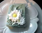 DAISY FLOWER SOAP, Custom Scented, Daisies, Flower Soap, Garden Soap, Dimensional Daisies Soap