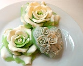 ROSE FLOWER SOAP, Elegant Green and Cream Rose Gift Soap Set, Handmade, Vegetable Based, Custom Scent