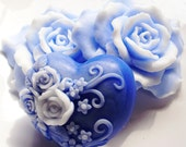 ROSE HEART SOAP, A Lighter Shade of Pale Blue Roses and Heart, Custom Scented, Handmade, Vegetable Base