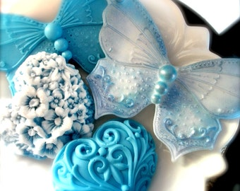 BUTTERFLIES and HEART SOAPS, Butterfly Blues, Hostess Gift, Wedding, Valentine's Day Gift Set, Custom Scented, Vegetable Based, Handmade