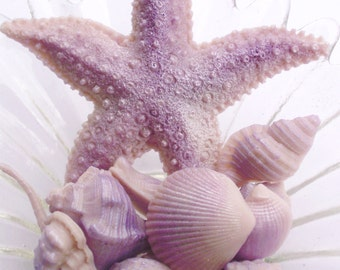 SHELL SOAP, Summer Shimmering Shells and Starfish in Purple, Scented in Lavender, Vegetable Based, Handmade
