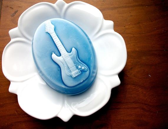 BLUES GUITAR SOAP, For the Music Lovers, Guitar Soap, Musician Soap, Music Lover Soap, Scented in Coconut Bay, Handmade, Vegetable Based