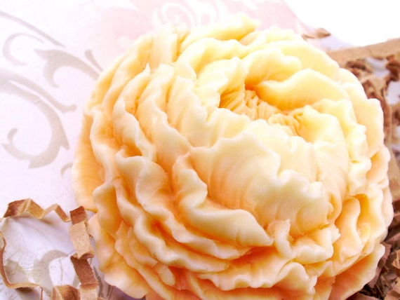 PEACH PEONY SOAP, Peaches n Cream Peony, Flower Soap, Scented in Peaches n Cream, Vegetable Based