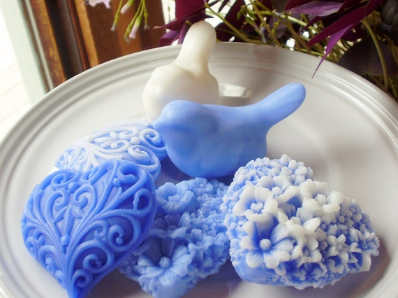 HEARTS & BIRD SOAP, Blue and White Love Birds with Hearts, Valentine's Day, Custom Scented, Handmade, Vegetable Based