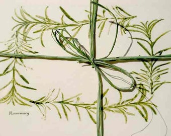 Herbal-Rustic Wedding invitations or favors, Rosemary garland note cards w pkg.of rosemary, gift for chef, gardener, hostess, remembrance,