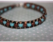 """CLEARANCE 7"""" Brown Malachite Blue Agate Leather Bracelet"""