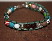 "6"" Vegan Multiple Gem Glass Resin and Stone Bracelet"