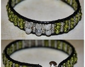 "7 1/4"" MAJESTIC Peridot and Artisan Sterling Weaved Leather Bracelet"