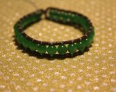 "6 3/4"" High Quality Super Green Catseye Beaded Bracelet on Brown Leather Sterling Clasp"