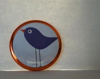 Purse Mirror Purple Bird Pocket Mirror Bird Cosmetic Mirror Hand Mirror  2 1/4 inch round