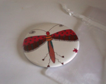 Pocket Mirror Dragon Fly 2 1/4 inch
