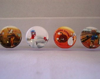 Bowling Flair Pinback Flatback Button Badge or Flair 1 inch set of 10