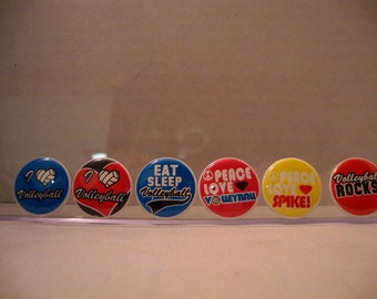 Volleyball  Pinback  Flatback Button Badge or Magnet 1 inch set of 10
