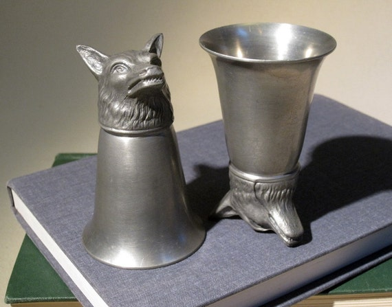 "Fox Head ""Stirrup Cups"" Antique Pewter Shot Glasses"
