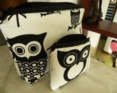 Owls Large zipper Cosmetic/accessory with coin pouch-Black and White