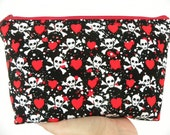 Sale-Skulls and Hearts-Large zipper Cosmetic/accessory Pouch-Michael Miller
