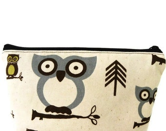 Owl Cosmetic Bag Large zipper Cosmetic/accessory Pouch-