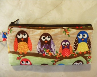 Owls Pencil Case/cosmetic pouch-Owls on branches out of print fabric