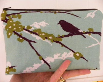 Large Cosmetic bag. Joel Dewberry fabric Cosmetic/accessory Pouch.