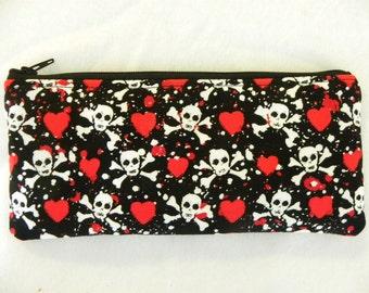 Sale-Skulls and Hearts Pencil Case-Michael Miller