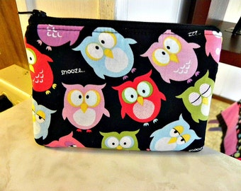 Owls Small zipper coin/accessory pouch-Last one