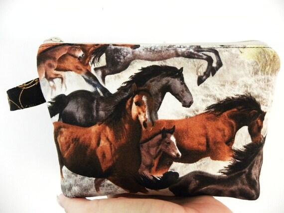 Horses Cosmetic Bag- Large zipper Pouch-Flat Bottom-