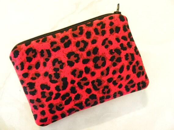Sale-Small zipper/coin/gadget/accessory pouch.Masquerade red leapard print