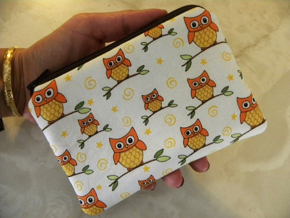 Owls on branches Small zipper/coin/gadget/accessory pouch.Out of print fabric