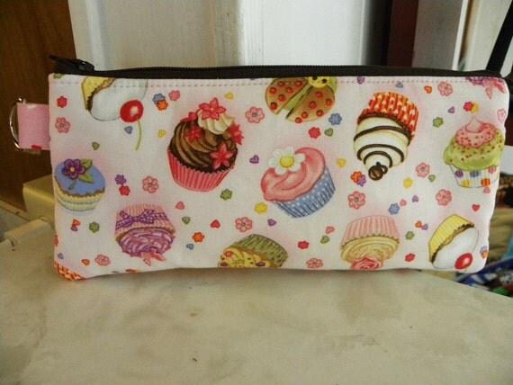 Cupcakes Pencil Case long zipper/Cosmetic pouch