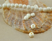 40 Bone Beads 4mm Round White Ivory color 3mm Natural Beads