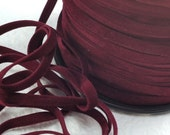 6yds Faux Suede leather Micro Fiber Red Jewelry Cord Maroon Lacing 4mm 5mm  x  .5mm flat velvet ribbon cord