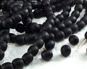 20 Glass Beads Vintage Czech Round Sea Glass Black 7mm round Matte Glass