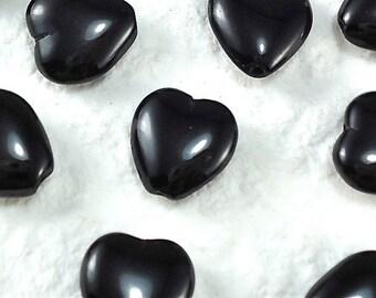10 Glass Beads Vintage Heart Black Glass Czech 11mm beads