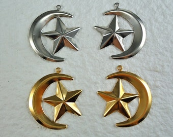 4 Half Moon Star Charms Gold plated Stampings 26mm for Bracelet Necklace Embellishment Scrapbooking Sewing and Craft Projects