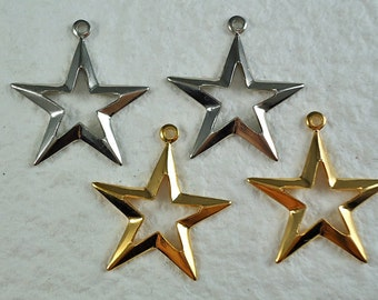 4 Charm Star metal Vintage Gold plated and nickel silver plated 22mm