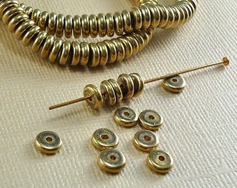 40 Brass Heishi Beads Disk 6mm Rondelle Disc Spacer Saucer India 5.5mm Flat Raw Solid Brass Metal Beads
