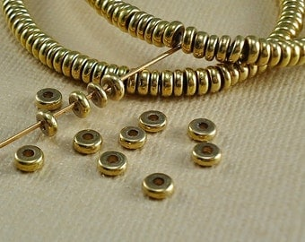 200 Brass Spacer Disk 4mm Rondelle Metal flat round Beads Disc Saucer Beads from India Flat Metal Beads Natural Heishi