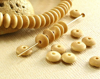 30 Bone Beads 6mm x 3mm Unique Beads saucer spacer disk Tea Dyed brown Natural Beads