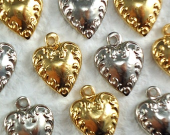 6 Heart Metal Charms Gold plated and Nickel Silver Plated