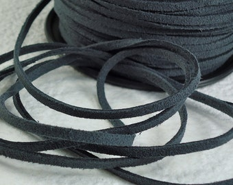 6yds Faux Suede leather Micro Fiber Gray Jewelry Cord Grey Lace 3mm x 1.5mm Bracelet Cord