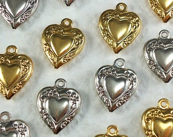 4 Heart metal Charm Vintage Hair Tie Charms Puffy Heart 16mm x 13mm Gold plate and Nickel Silver plated
