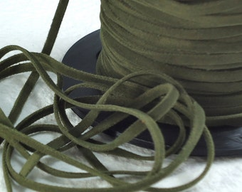 6yds Faux Suede leather Micro Fiber Green Jewelry Cord Olive Green Lace 3mm x 1/2mm flat suede cord